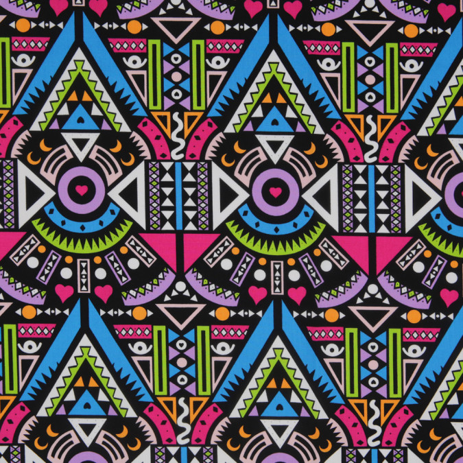 pink blue multicolor geometic printed stretch cotton twill 307115 11