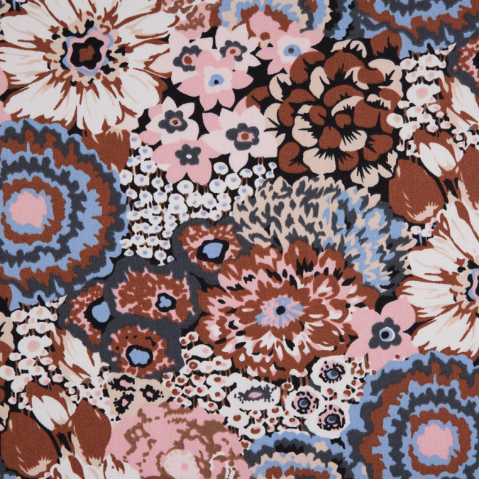 pink brown blue floral combed cotton sateen 113832 11