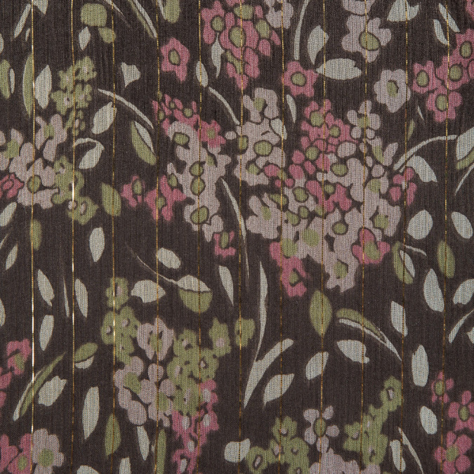 pink green brown floral printed crinkled silk chiffon w metallic gold stripes fs12438 11