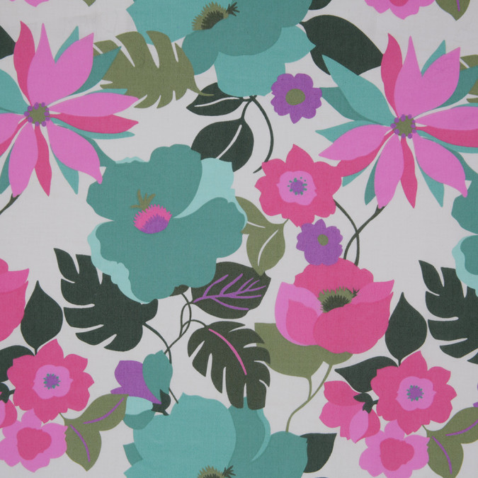 pink green floral stretch cotton twill 307125 11