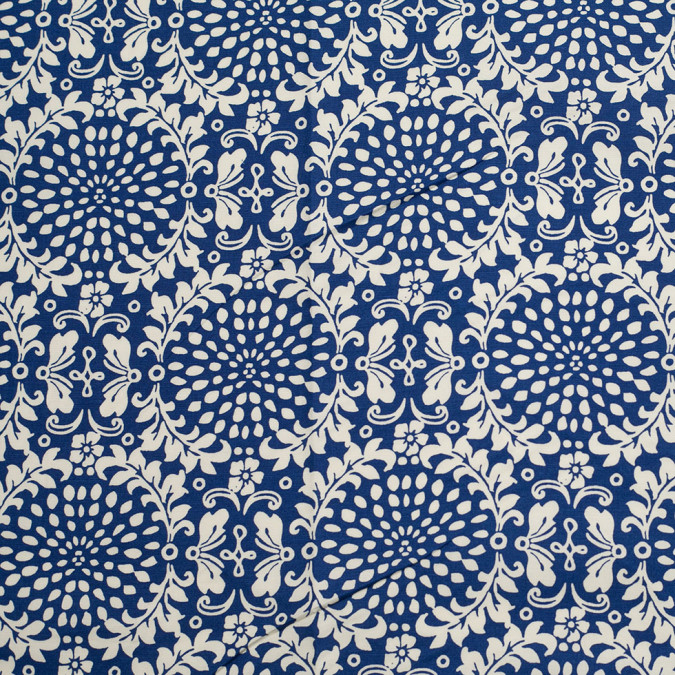 primary blue leafy medallion printed stretch cotton poplin 306411 11