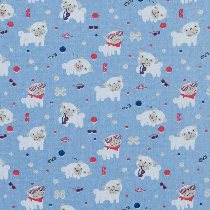 pugs in sunglasses printed on a skyway blue cotton poplin 314142 11