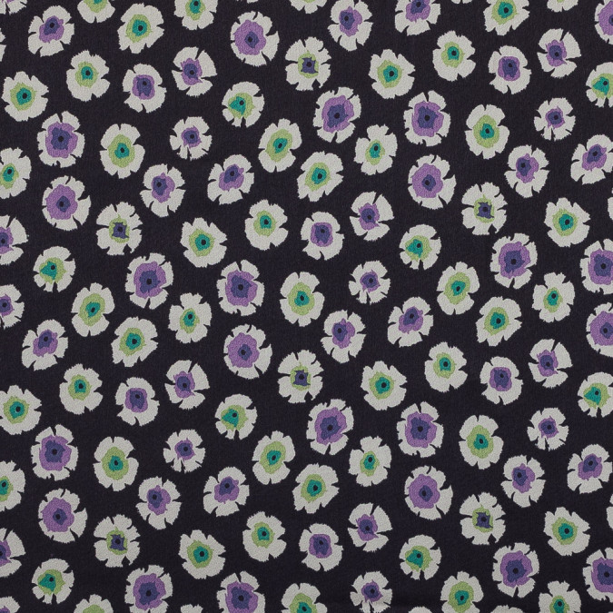 purple green and black floral satin faced silk crepe 319302 11