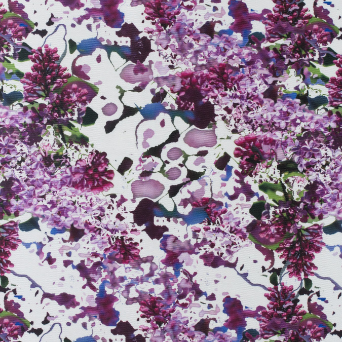 purple abstract floral digitally printed polyester mikado twill 115267 11