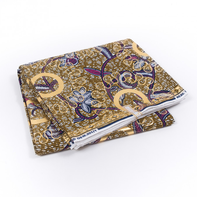 purple and gold floral waxed cotton african print decorated with gold metallic foil 319508 11