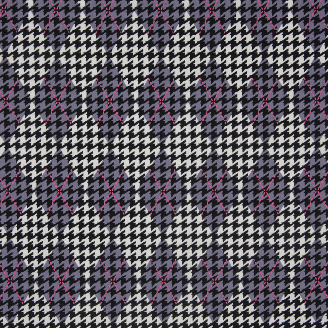 purple mauve black white argyle houndstooth stretch cotton sateen 307119 11