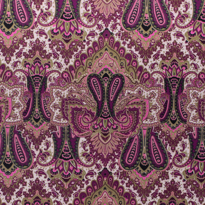 purple pink green paisley printed corded cotton sateen 311855 11