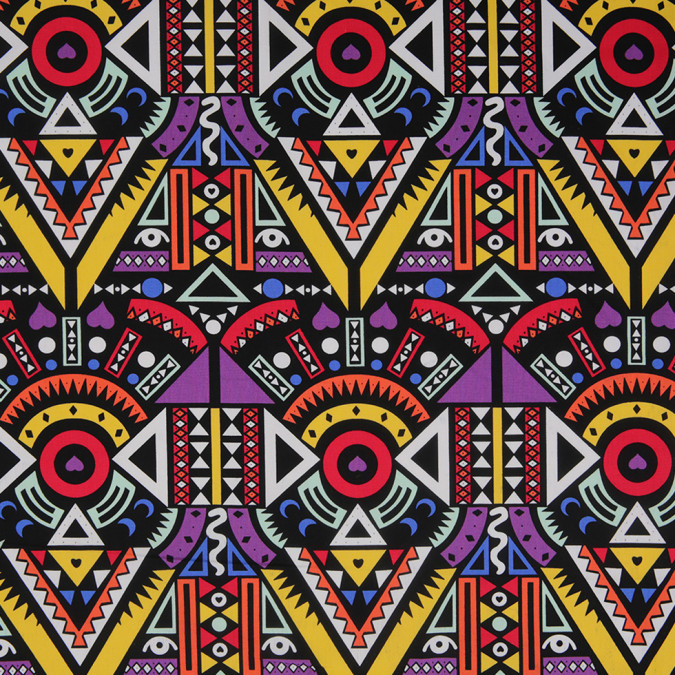 purple yellow multicolor geometric printed stretch cotton twill 307143 11