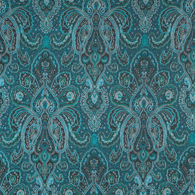radiant green and sea blue paisley damask jacquard 311112 11