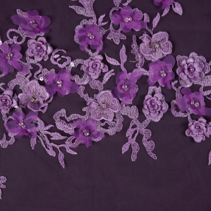 radiant orchid 3d floral embroidered tulle with beads and sequins 117634 11
