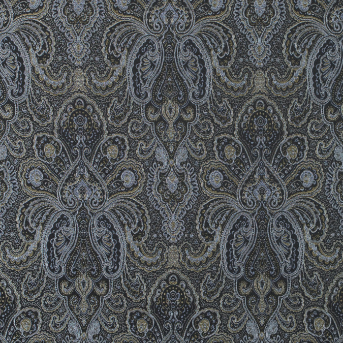 radiant platinum and black paisley damask jacquard 311113 11