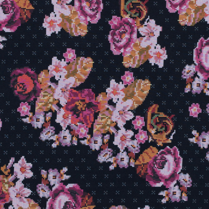 raspberry wine dark navy and flint stone digital flowers printed on a viscose woven 314004 11