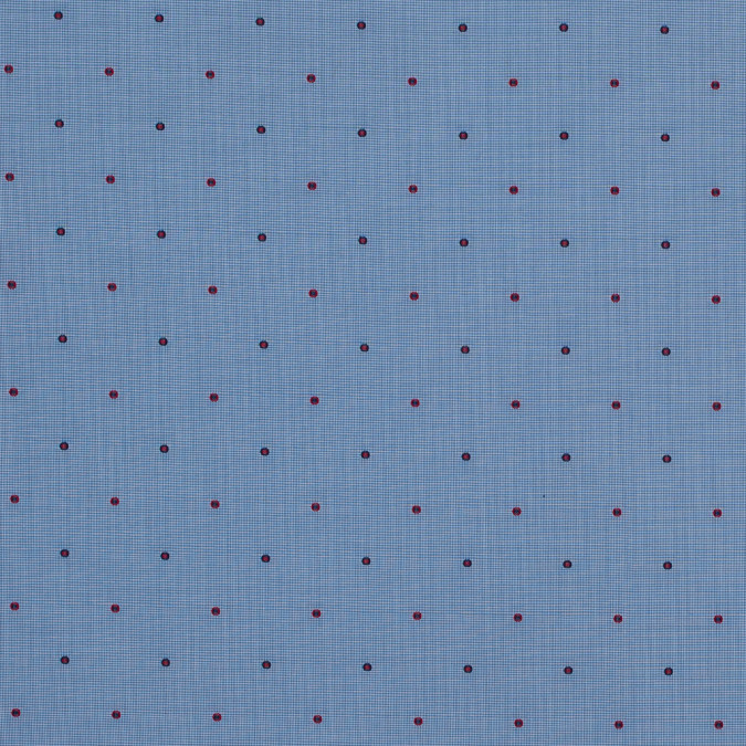 red and blue polka dotted houndstooth cotton shirting 118438 11
