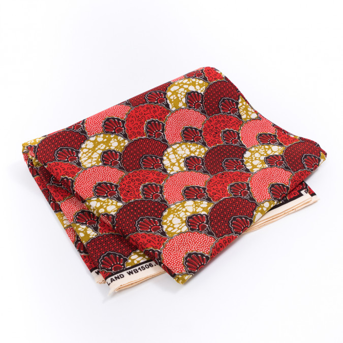 red and mustard scalloped waxed cotton african print 317718 11