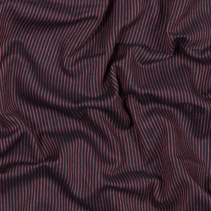 red and navy striped cotton double cloth 318843 11