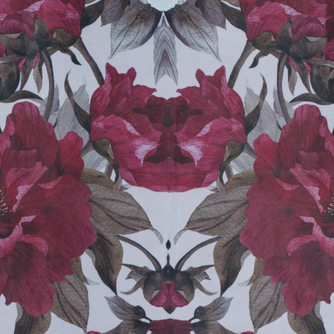 red and olive floral digitally printed organdy 116021 11