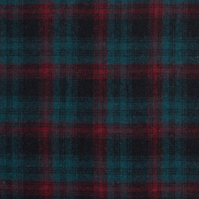 red and teal plaid brushed wool coating 317252 11