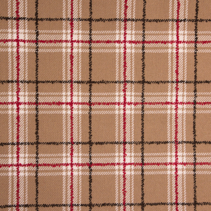 red beige plaid wool twill and solid felt double cloth 310563 11