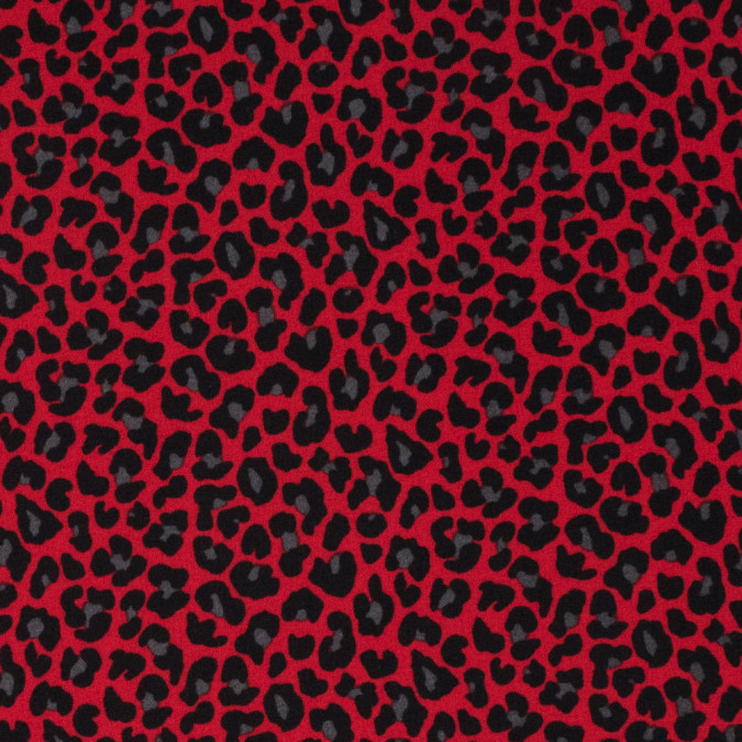red black leopard printed stretch polyester crepe 311733 11