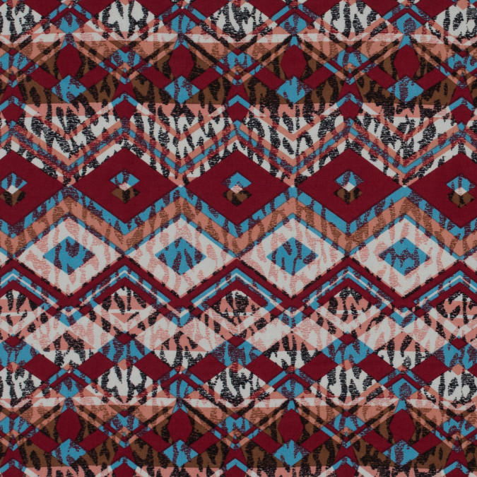 red blue peach tribal printed cotton voile 114120 11