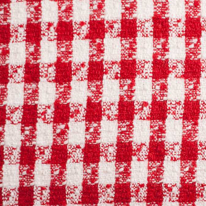 red off white checkered tweed polyester blend 306188 11