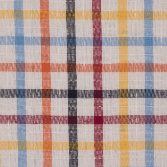 red yellow blue orange plaid cotton shirting 309663 11
