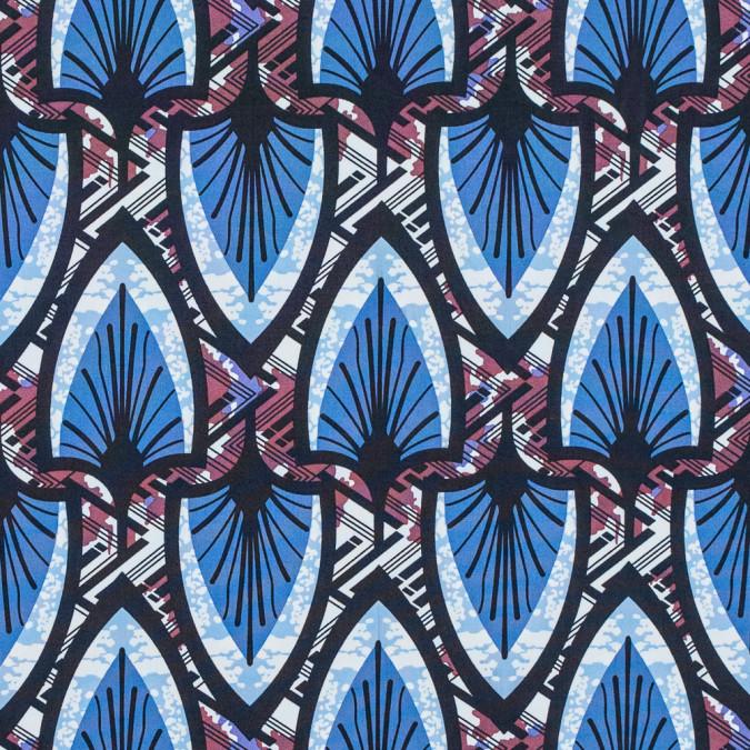 regatta blue and deco rose stretch cotton poplin print 117308 11