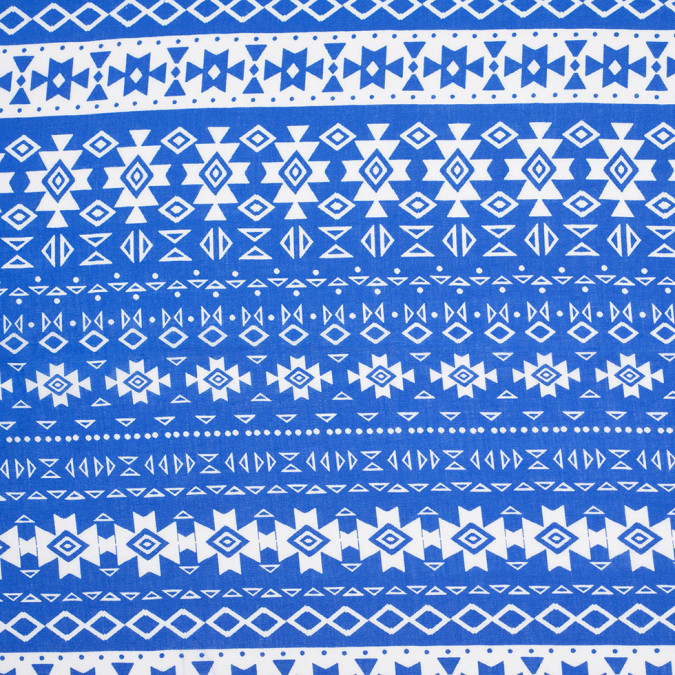 royal blue white tribal ethnic printed rayon challis 307024 11