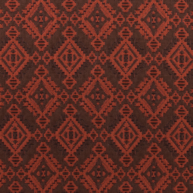 rust and coffee geometric brocade 311108 11