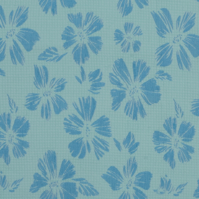 sea blue and sky blue stretch floral houndstooth brocade 318322 11