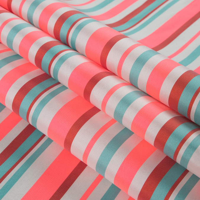 sea green and neon pink striped taffeta 311140 11