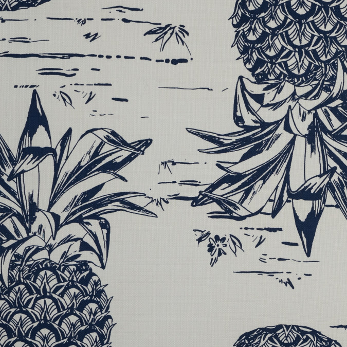 sea ny navy and ivory pineapple printed linen woven 318001 11