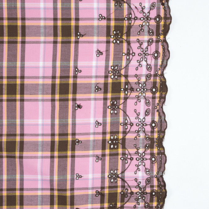sea pink plaid cotton twill with floral eyelet border 315211 11