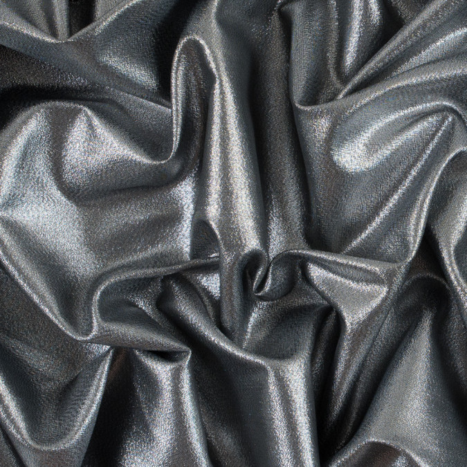 silver black metallic polyester lame 311056 11