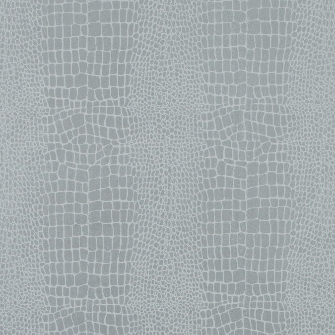 silver crocodile foiled stretch polyester twill 315788 11