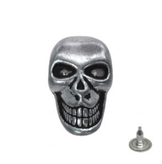 skull button front