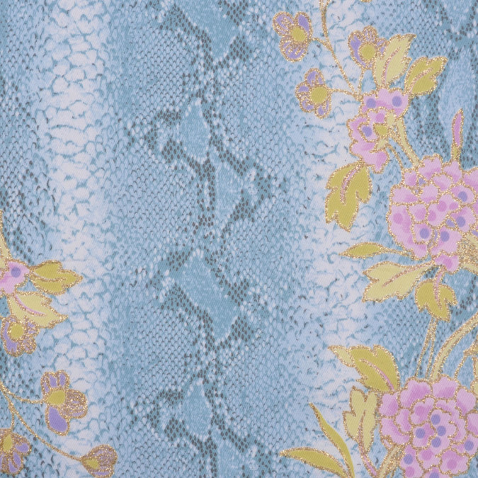 soft blue orchid kiwi gold whi reptile floral cotton lycra twill fc12710 11