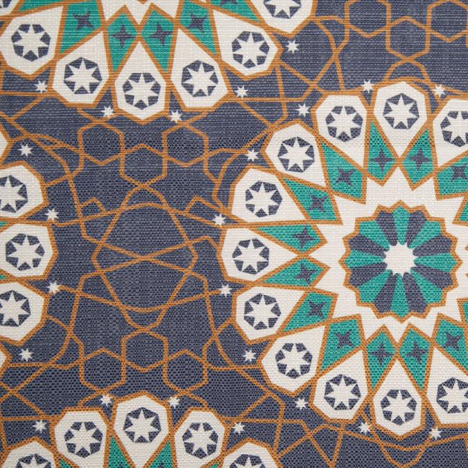 spanish aqua geometric poly cotton canvas 108254 11