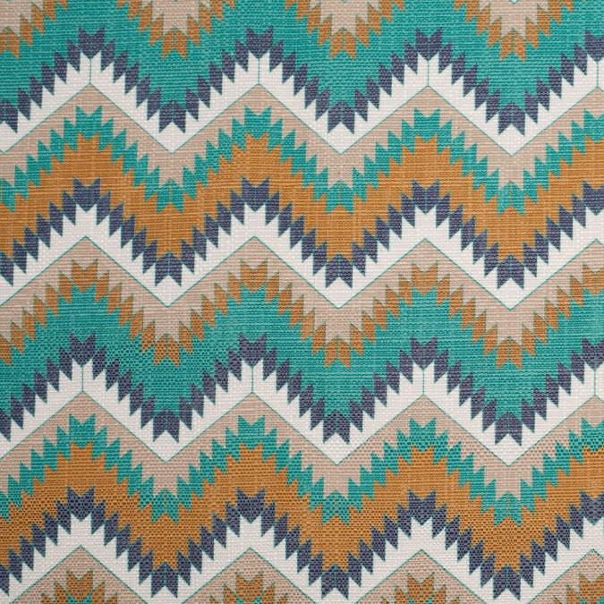 spanish aqua gold geometric poly cotton canvas 108796 11
