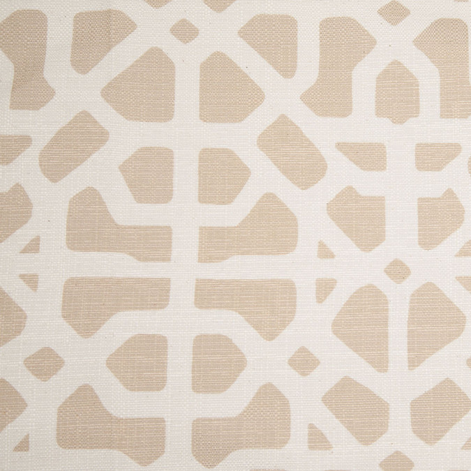 spanish beige white geometric poly cotton canvas 108310 11