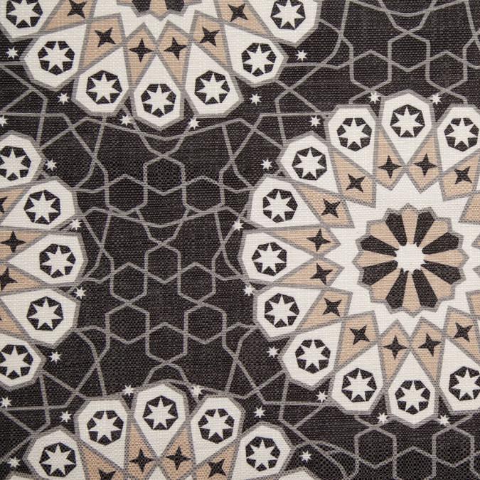 spanish black beige geometric poly cotton canvas 108255 11