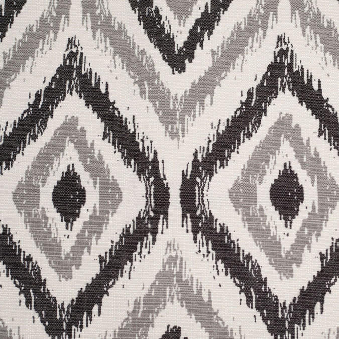 spanish black gray ikat like geometric poly cotton canvas 108486 11
