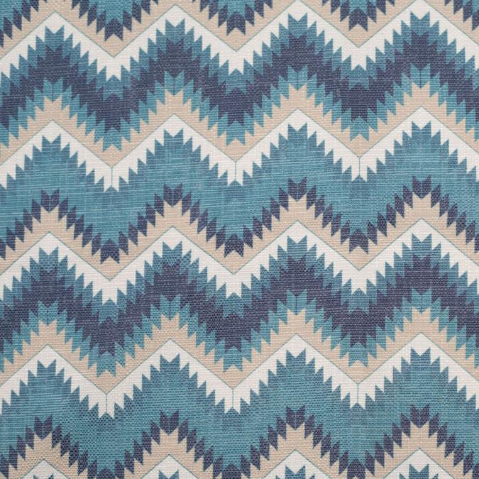 spanish blue beige geometric poly cotton canvas 108491 11