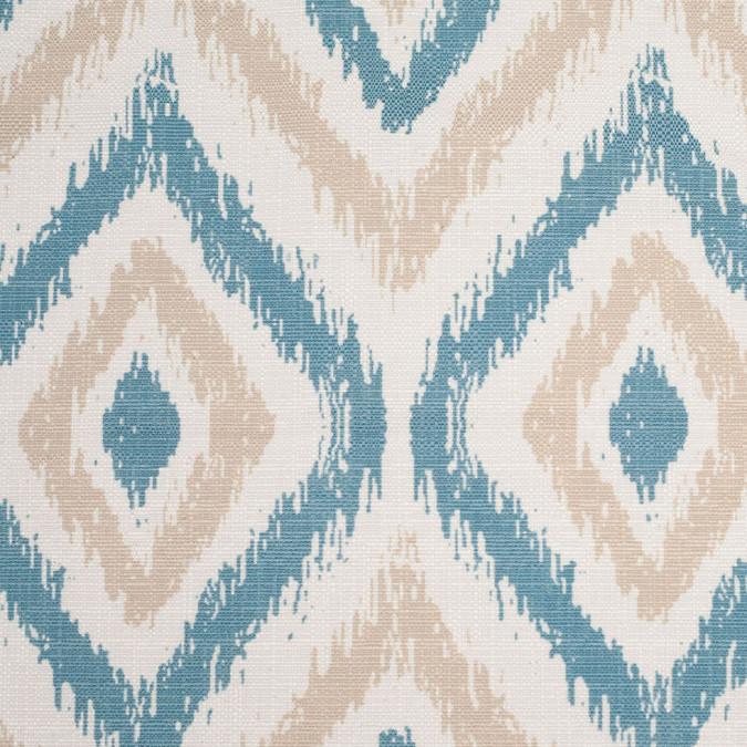 spanish blue beige ikat like geometric poly cotton canvas 108483 11