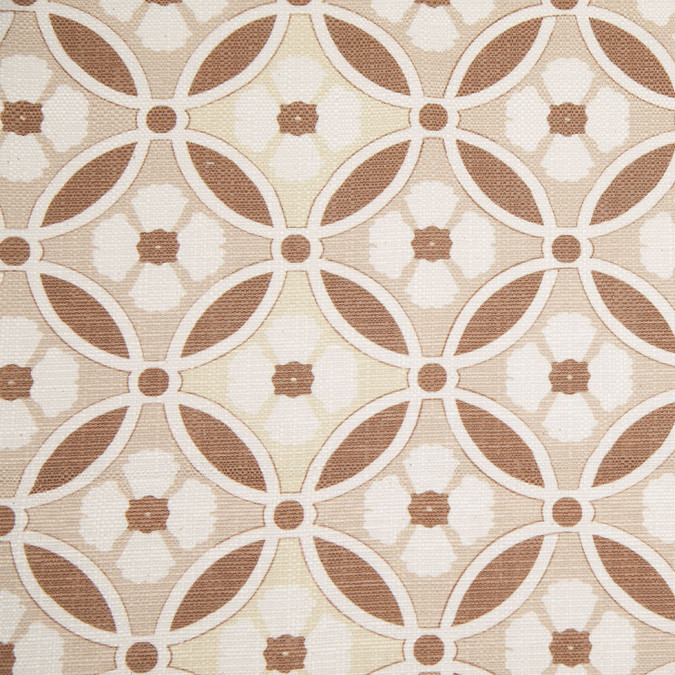 spanish brown beige floral geometric poly cotton canvas 108305 11