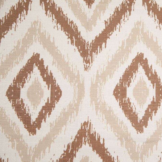 spanish brown beige ikat like geometric poly cotton canvas 108307 11