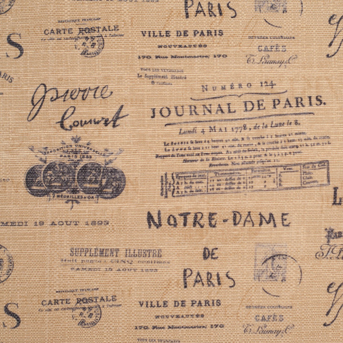 spanish brown navy paris journal printed poly cotton canvas 108800 11