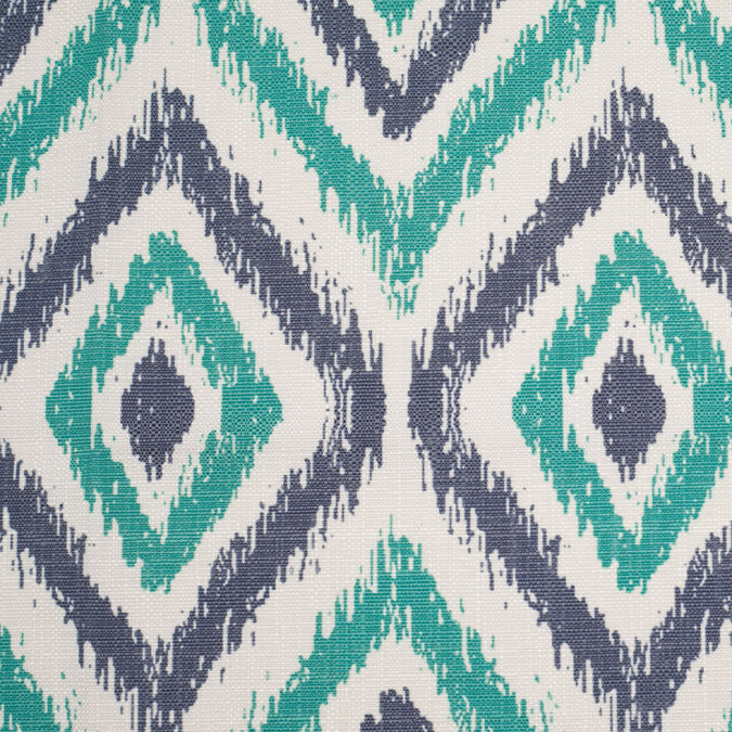 spanish green blue ikat like geometric poly cotton canvas 108487 11