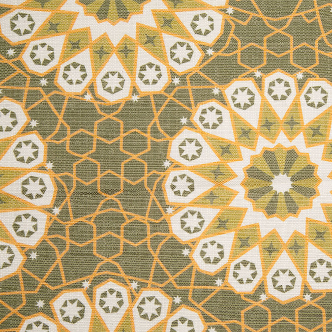 spanish green geometric poly cotton canvas 108257 11