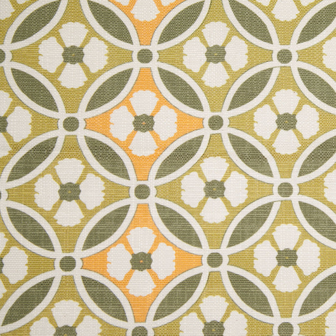 spanish green orange floral geometric poly cotton canvas 108304 11